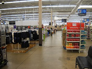 Inside the Walmart (still branded as Wal-Mart)...