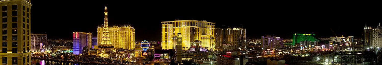 Vista panorâmica da Las Vegas Strip, o principal polo turístico da cidade.