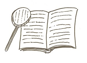 English: Magnifying glass and book