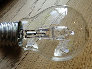 English: Close-up of a standard lightbulb with...