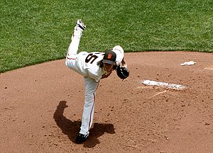 Tim Lincecum throwing a pitch against the Los ...