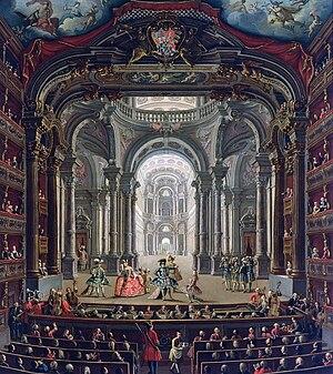 The Teatro Regio in Turin, oil on canvas