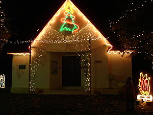 The church of Tilly-la-Campagne with Christmas...