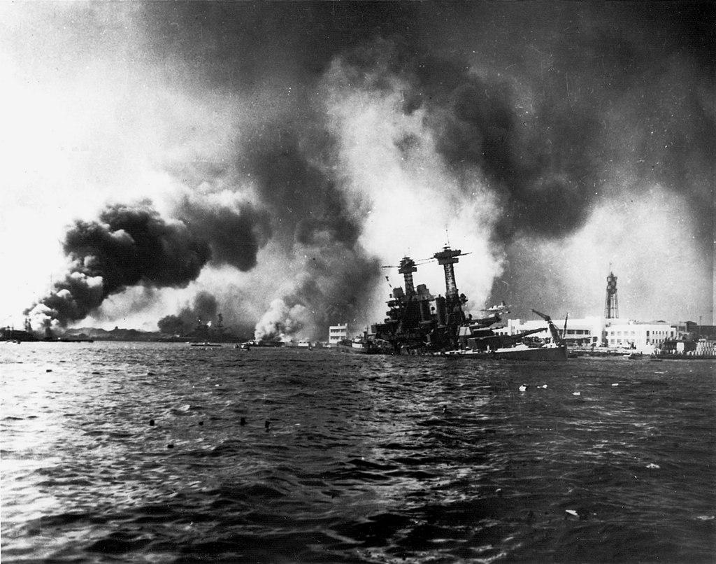 Battleship USS California sinking.