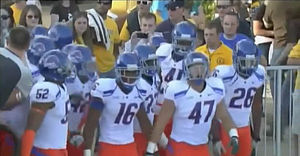 English: Boise State team about to take the fi...