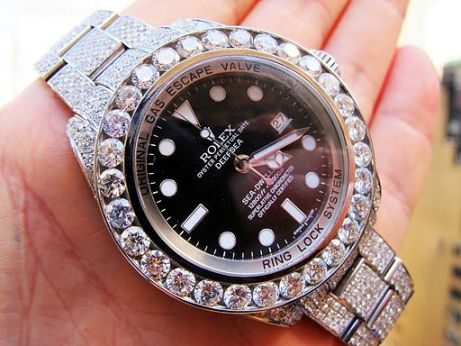 Fully diamond covered ROLEX DeepSea Sea-Dweller watch customized bu TraxNYC