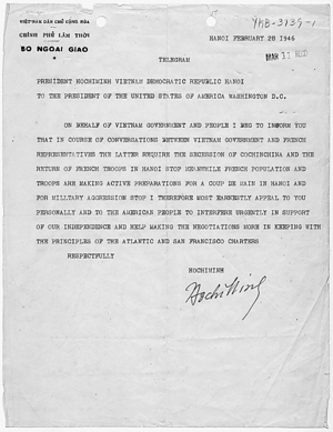 Telegram from Hồ Chí Minh to U.S. President Ha...