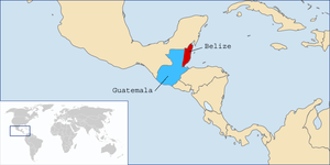 Map of Central America displaying Belize (red)...