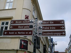English: Signs in Prague, Czech Republic. Port...