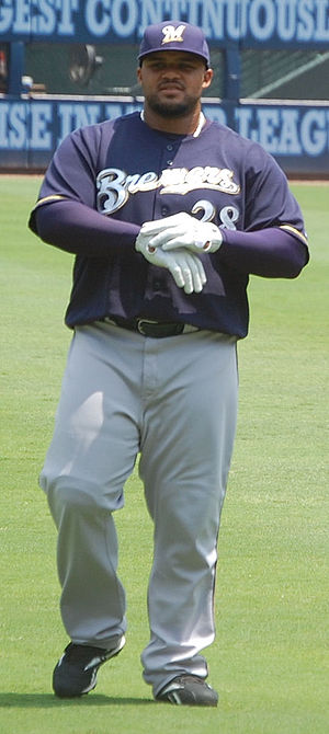 English: Prince Fielder doing pre-game stretch...