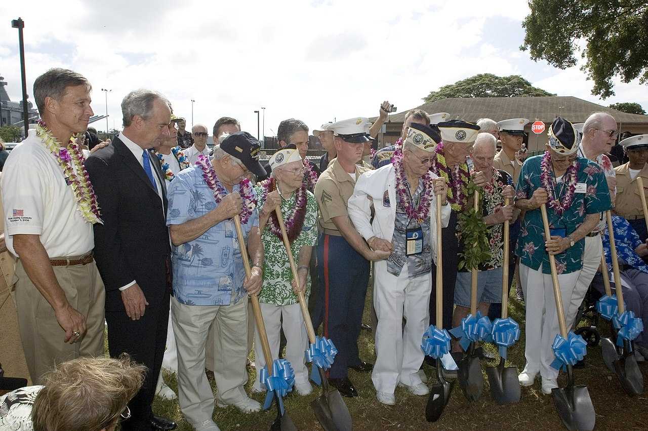 Wikipedia image. Pearl Harbor Survivors Assn breaks ground on USS Oklahoma Memorial, in 2006