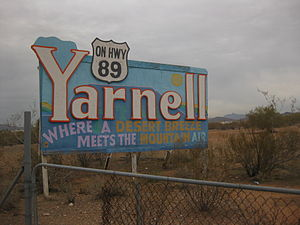 English: Sign for the city of Yarnell in Arizona
