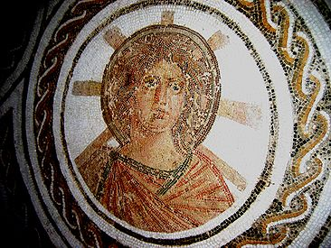 Solar Apollo with the radiant halo of Helios in a Roman floor mosaic, El Djem, Tunisia, late 2nd century
