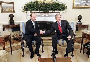 Traian Băsescu with George W. Bush (9 March 2005)