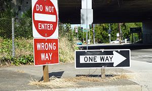 Standard wrong-way sign package used on all fr...