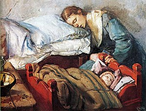 'Sleeping mother with child'