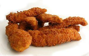English: Fried Chicken strips.