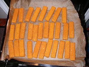 Baken fishfingers on parchment paper
