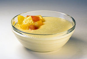 semolina pudding with fruit compote