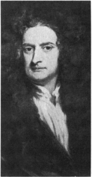 Portrait of Isaac Newton.
