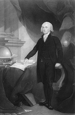 English: stippling engraving of James Madison,...