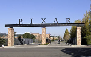 The entrance to Pixar's studio lot in Emeryvil...