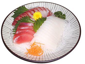 A raw, paleolithic-style dish: A sashimi (raw ...
