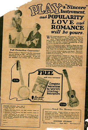 "1926 US advertisement. ""Play a Sincere In..."