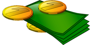 Clipart of bills and coins-Transparent background