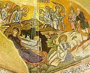 English: Birth of Christ, mosaic in Daphni mon...