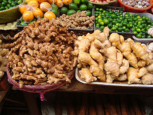 Two varieties of ginger as sold in Haikou, Hai...