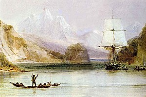 HMS Beagle at Tierra del Fuego (painted by Con...