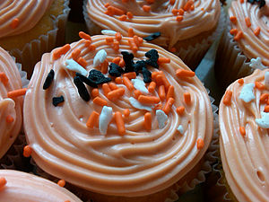Yellow cake with some Halloween sprinkles in t...