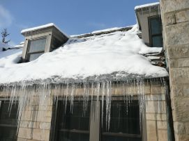 Ice build up on slate roof.