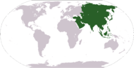 World map showing the location of Asia.