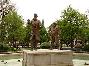 Statues of Abraham Lincoln and Stephen A. Doug...