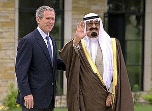 King Abdullah of Saudi Arabia with George W. B...