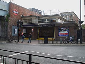 English: South Harrow tube station southern en...
