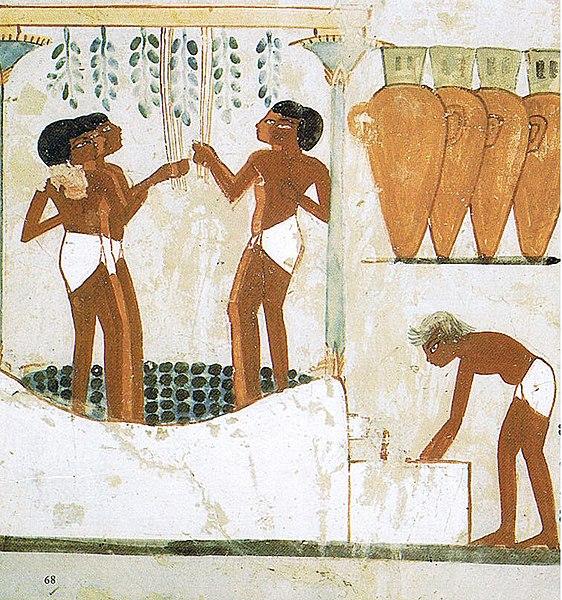 Elaboración del vino en el Antiguo Egipto. Tumba de Najt, en el Valle de los nobles.