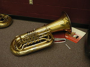 Tuba with four rotary valves.