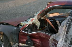 A wrecked car in Durham, North Carolina.