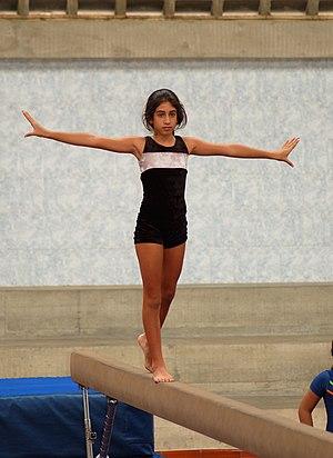 Practice on balance beam