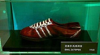 English: Emil Zatopek running shoes by Adidas....