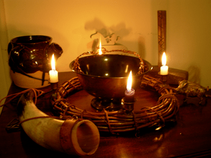 Very essential Heathen altar.