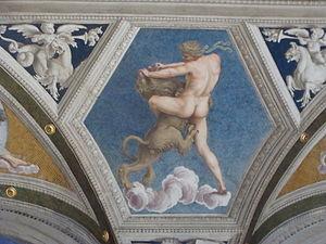 Hercules and the Nemean lion in Villa Farnesin...