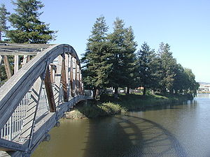 Petaluma, CA, Wooden Bridge over Petaluma River