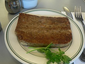 English: Scrapple, served in a restaurant.