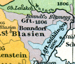 Deutsch: Karte der Reichsherrschaft Bonndorf u...