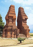 Wringin Lawang, the 15.5 meter brick split gate; believed to be the entrance to an important compound in Majapahit capital, its form shows the strong geometric quality of Majapahit, still used in Balinese temples
