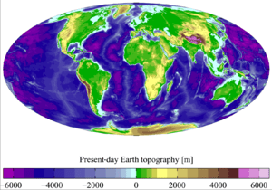 English: Present day Earth altimetry and bathy...